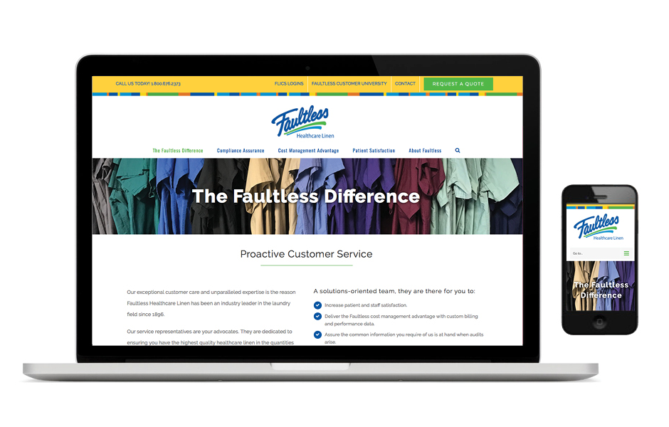 SW Client - Faultless Linen - Website Development